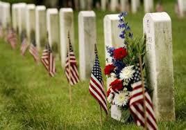 American flag and memorial
