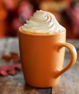 Pumpkin spice lattee in orange cup