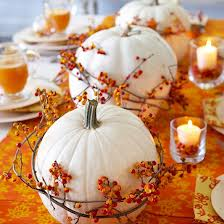 pumpkin white with orange candles