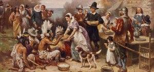 Autumn pilgrims and indians