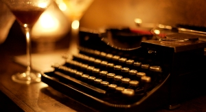 Typewriter with wine