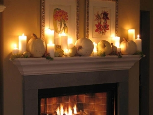 Pumpkins on Mantel