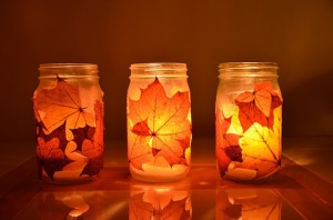 Orange candles mason jars